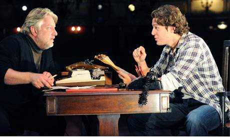 Ageing playwright and young upstart: Simon Russell Beale and Jonathan Groff in Deathtrap by Ira Levin. Photograph: Tristram Kenton for the Guardian.