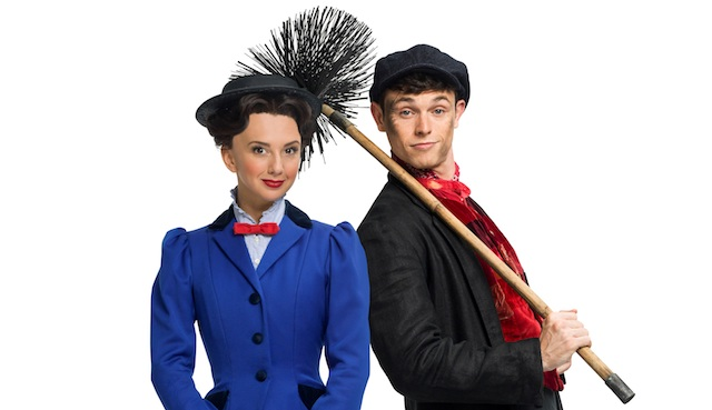 Zizi Strallen as Mary Poppins and Charlie Stemp as Bert at the Prince Edward Theatre London