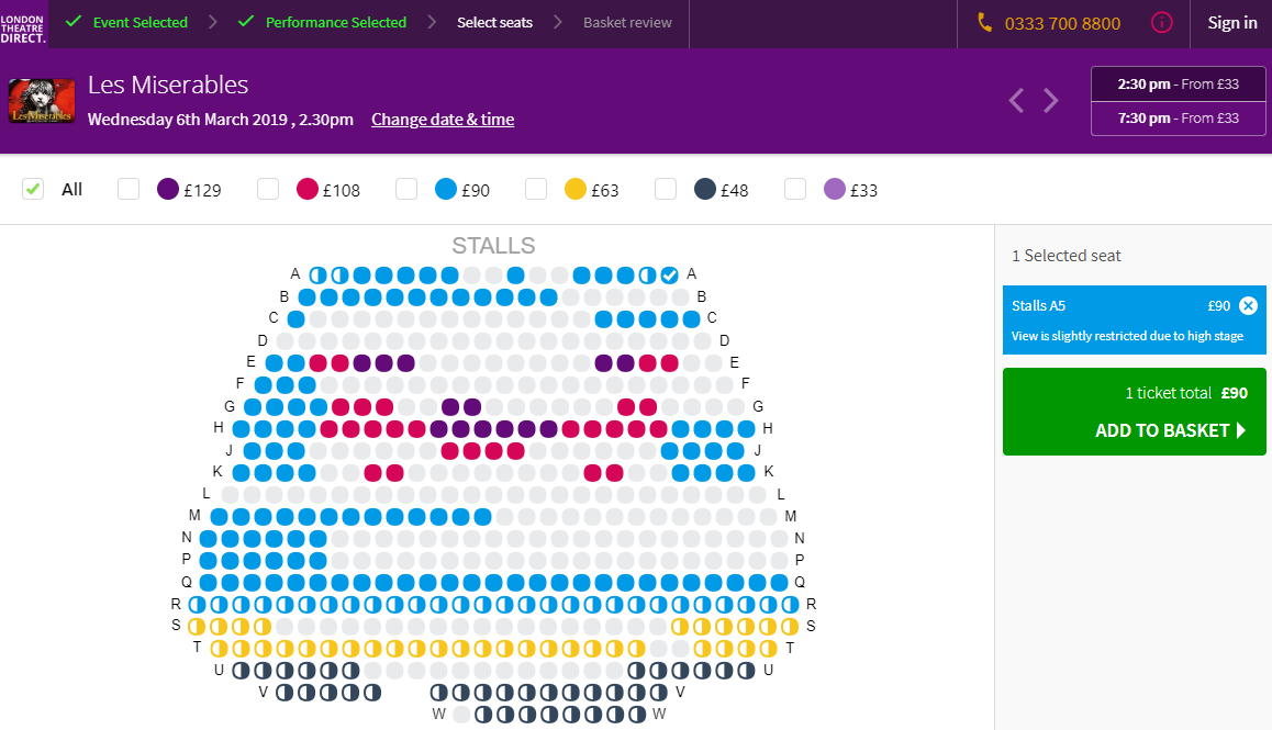 How to choose the best seats for Les Miserables?