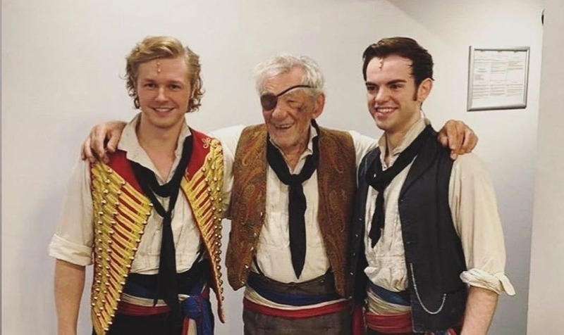 Ian McKellen performs on stage in Les Miserables
