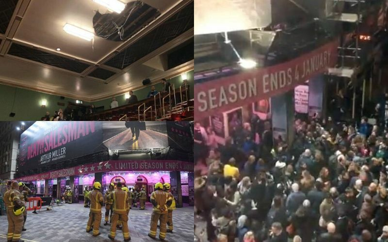Ceiling collapses on theatregoers at Piccadilly Theatre during performance of Death of a Salesman