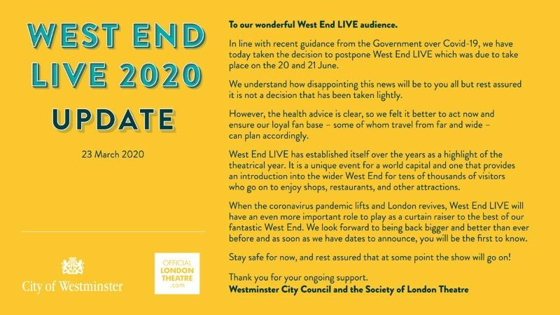West End Live 2020 postponed, new dates to be announced