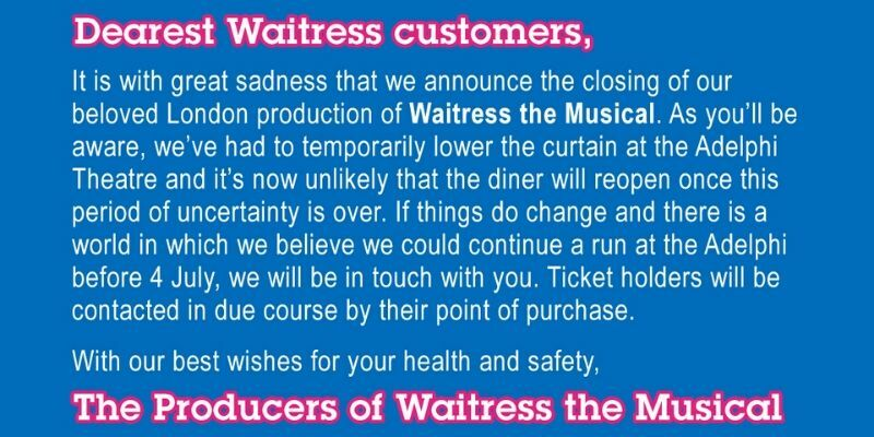 West End musical Waitress announces early closing due to COVID-19