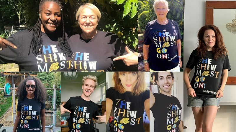 "See West End stars sporting their ""The Show Must Go On!"" t-shirts"