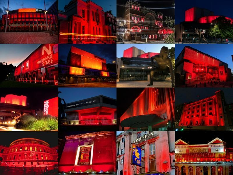 UK Theatres light up red in solidarity for the arts community